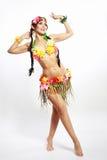 Fille avec les accessoires hawaïens photos stock