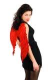 Fille avec les ailes rouges d'ange Image stock