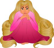 Fille avec les cheveux blonds très longs Photographie stock libre de droits
