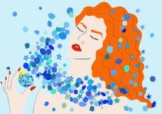 Fille avec les fleurs bleues Photos libres de droits