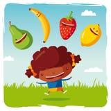 Fille avec les fruits drôles Illustration de Vecteur