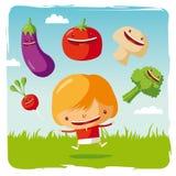Fille avec les légumes drôles Illustration de Vecteur