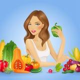 Fille avec les légumes frais Illustration saine de vecteur de nourriture Photos libres de droits