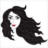 Fille avec les poils ébouriffés par le vent Illustration Stock