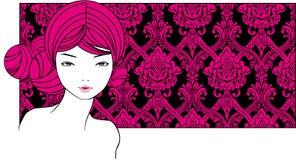 Fille avec les poils roses Images libres de droits