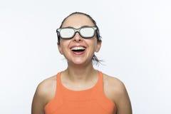Fille avec les verres 3D Photo libre de droits