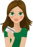 Fille avec par la carte de crédit illustration stock
