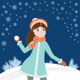 Fille avec snowball3 Photo stock