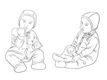 Fille avec Toy.Sketch noir et blanc Photo stock