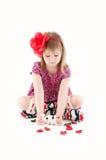 Fille avec un AMOUR de signe Photographie stock