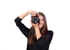Fille avec un appareil-photo Photographie stock