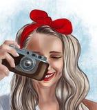 Fille avec un appareil-photo illustration stock