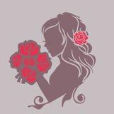 Fille avec un bouquet Image libre de droits