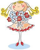 Fille avec un bouquet des fleurs Images libres de droits