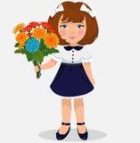Fille avec un bouquet des fleurs illustration de vecteur