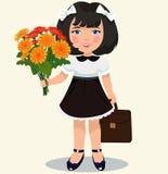 Fille avec un bouquet des fleurs illustration libre de droits