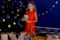 Fille avec un cadeau à l'arbre de Noël photos libres de droits