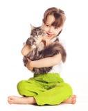 Fille avec un chat Images libres de droits