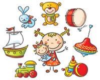 Fille avec un ensemble de jouets illustration stock