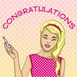 Fille avec un essai pour la grossesse Carte postale, surprise, félicitation, annonce, texte et actualités Art de bruit comique de illustration stock