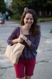 Fille avec un sac Photo libre de droits