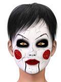 Fille avec un visage blanc criqué Photographie stock libre de droits