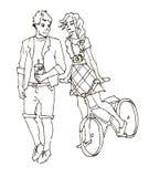 Fille avec une bicyclette et le garçon avec du café Photos libres de droits