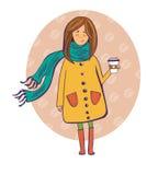 Fille avec une cuvette de café illustration libre de droits
