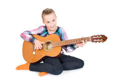 fille avec une guitare Photos stock