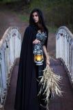 Fille avec une lanterne sur le pont Images stock