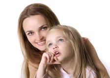 Fille avec une mère Photos stock