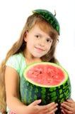 Fille avec une pastèque photographie stock libre de droits