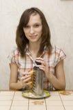 fille avec une râpe Photo stock