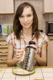 fille avec une râpe Photographie stock