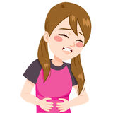 Fille ayant le mal de ventre Photographie stock libre de droits