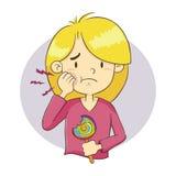 Fille ayant un mal de dent illustration stock