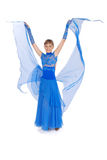 fille bleue de robe posant le studio Image libre de droits