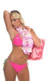 Fille blonde étouffante de bikini image stock