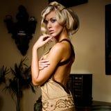 Fille blonde attirante dans le château de robe Photographie stock libre de droits