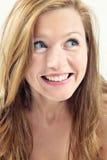 Fille blonde avec des œil bleu Photo libre de droits