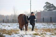 Fille blonde d'adolescent et cheval brun fonctionnant dans la neige Photographie stock