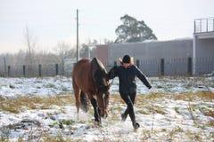 Fille blonde d'adolescent et cheval brun fonctionnant dans la neige Images stock