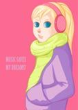 Fille blonde dans des écouteurs roses illustration stock