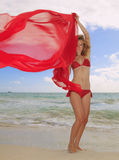Fille blonde dans le bikini rouge en Hawaï Photo libre de droits