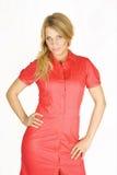 Fille blonde de beauté dans la robe rouge Photos libres de droits