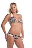 Fille blonde de bikini sur le blanc images stock