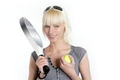 fille blonde de sport de tennis jeune belle photographie stock libre de droits