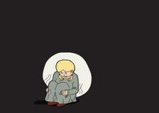 Fille blonde effrayée seule Photos libres de droits