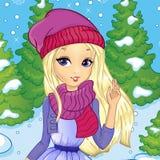 Fille blonde en forêt de l'hiver Photos stock