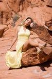 Fille blonde dans la robe à la mode Image stock